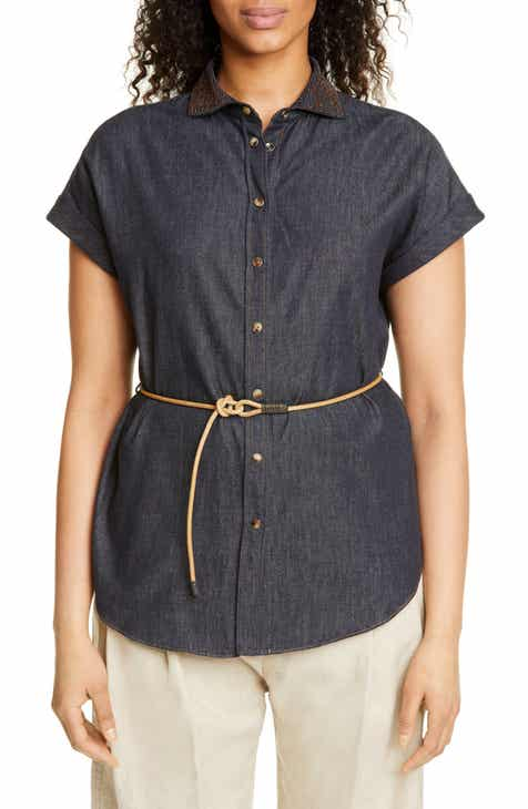 Brunello Cucinelli Embellished Collar Denim Shirt by BRUNELLO CUCINELLI