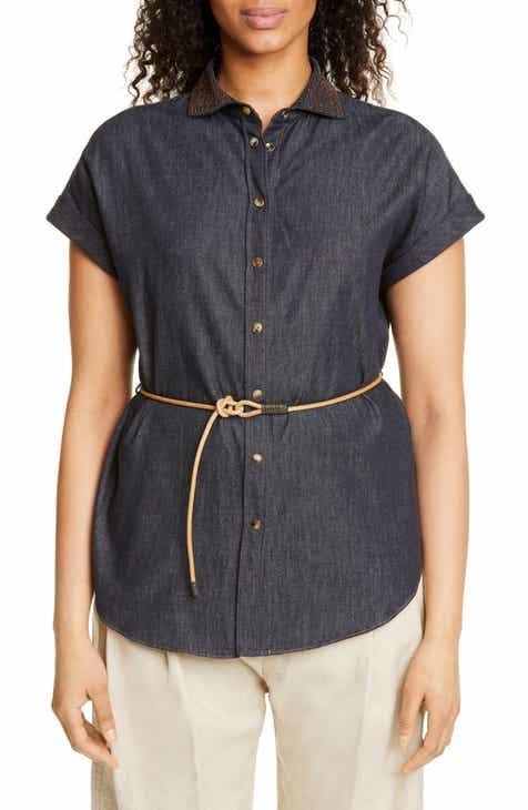 Brunello Cucinelli Embellished Collar Denim Shirt by BRUNELLO CUCINELLI