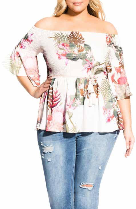 82d6a699de0b8d City Chic Paradise Palm Off the Shoulder Top (Plus Size)