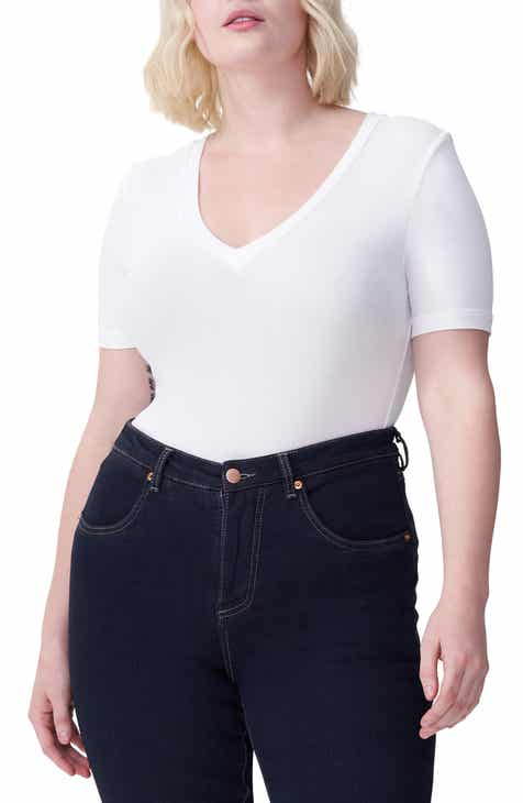 1458deb76 Universal Standard Foundation V-Neck Short Sleeve Tee (Regular & Plus Size)