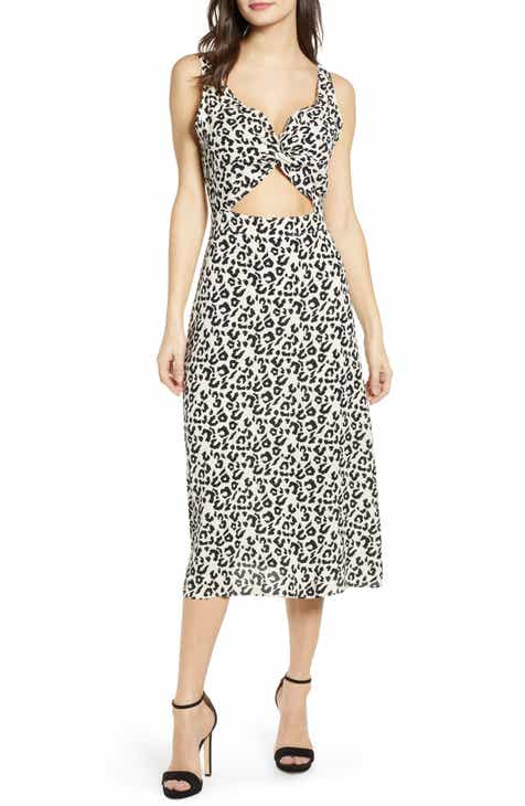 Leith Twist Front Cutout Midi Dress