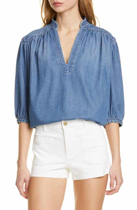 FRAME Cali Gathered Denim Top