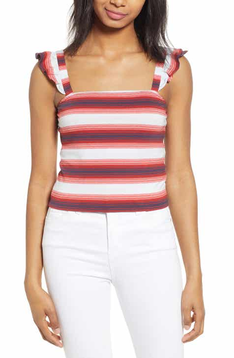 2718c5fdca2 Stripe Ruffle Strap Crop Tank (Regular & Plus Size)
