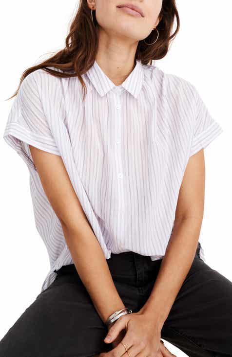 9fffdd6807373 Madewell Central Lavender Stripe Shirt