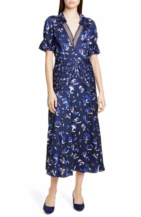 Self-Portrait Twist Front Floral Print Midi Dress