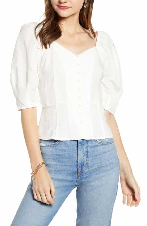 a69c4c5e370c22 Something Navy Front Button Fitted Top (Nordstrom Exclusive)