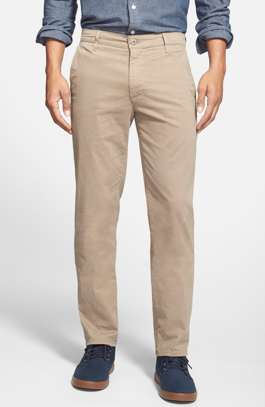 'The Lux' Tailored Straight Leg Chinos,                             Main thumbnail 1, color,                             Wheat