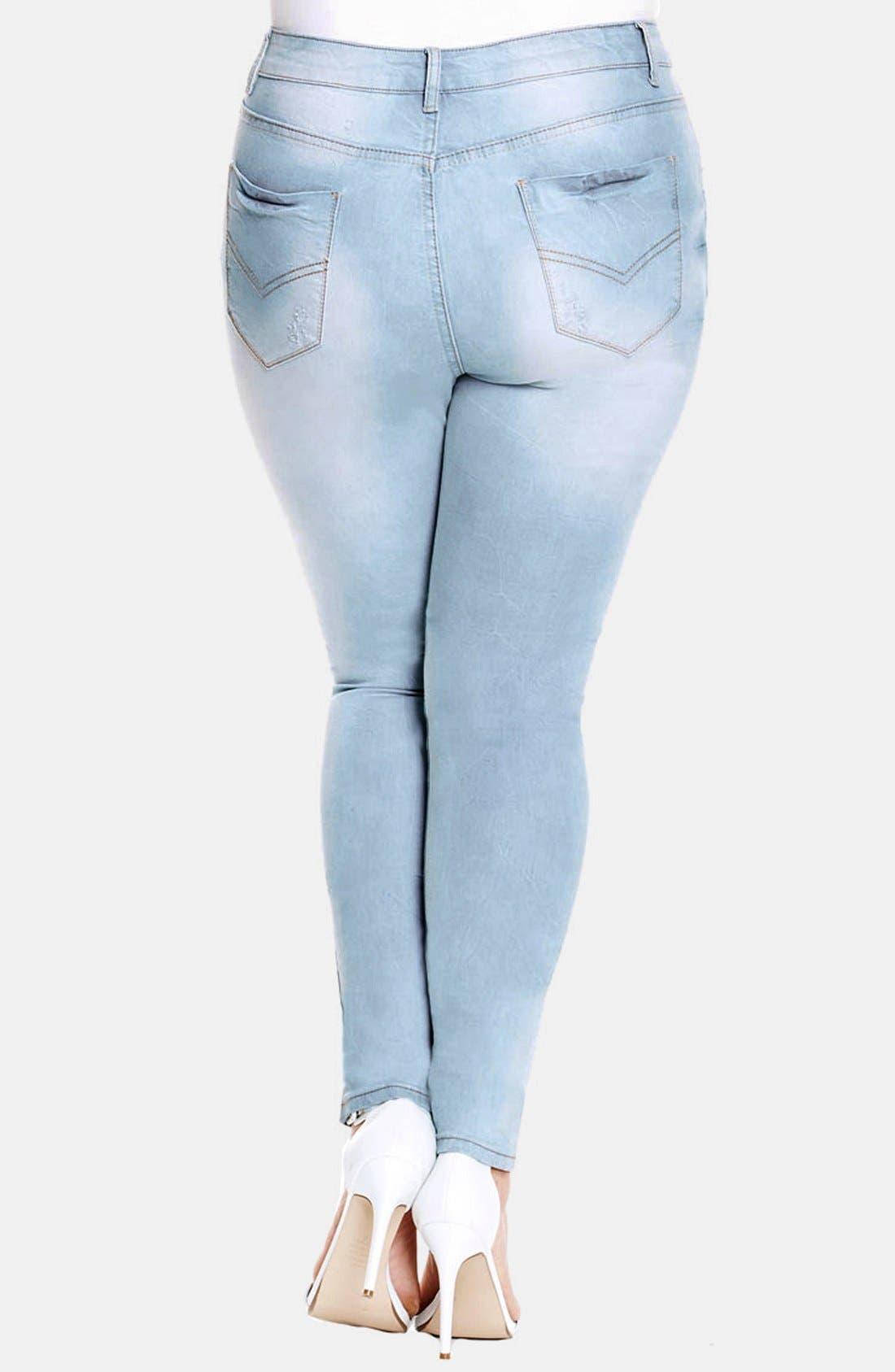 Alternate Image 2  - City Chic 'Blue Baby' Stretch Skinny Jeans (Light Denim) (Plus Size)