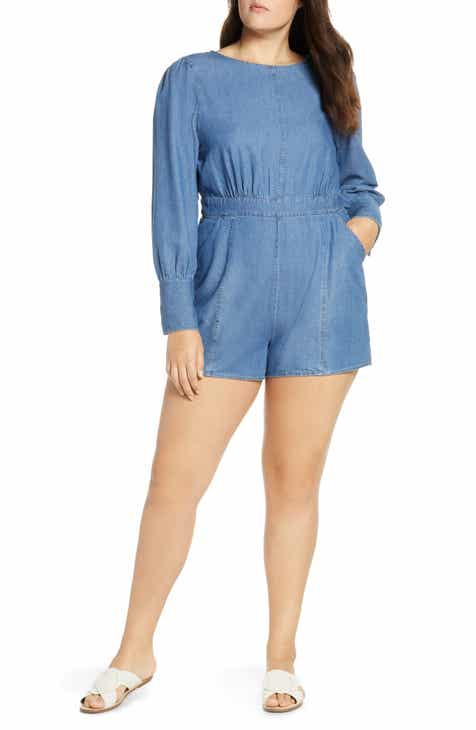 f547e5fe20f Something Navy Chambray Romper (Nordstrom Exclusive)