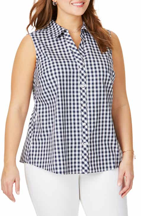 53c8a65b5 Foxcroft Elisa Sleeveless Cotton Gingham Blouse (Plus Size)