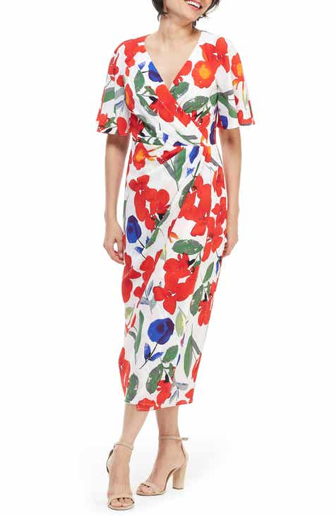 Maggy London Floral Faux Wrap Midi Dress