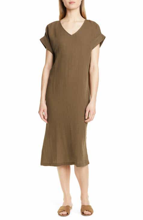 e4e5f15a3c56fe Eileen Fisher Organic Cotton Midi Dress (Regular   Petite)
