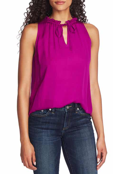 CeCe Ruffle Tie Neck Sleeveless Stretch Crepe Blouse