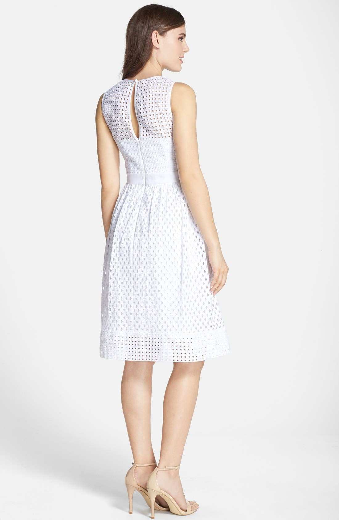 Alternate Image 2  - Eliza J Cotton Eyelet Fit & Flare Dress (Regular & Petite)