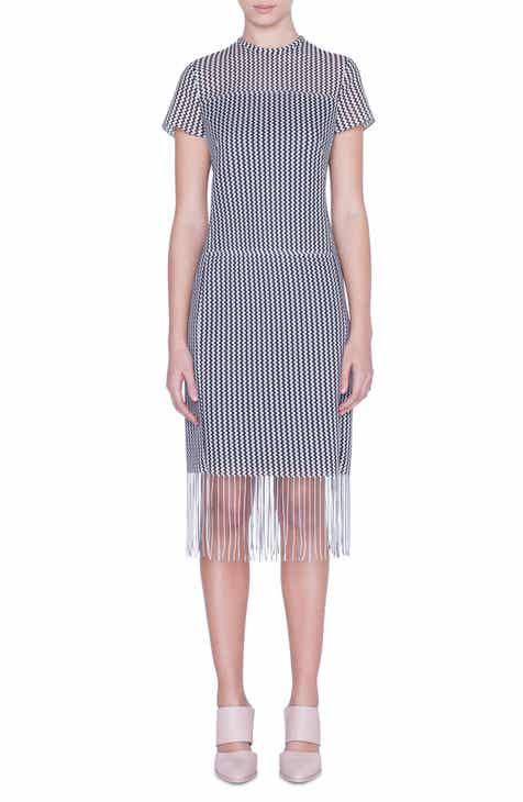 Akris punto Monochromatic Fringe Hem Dress