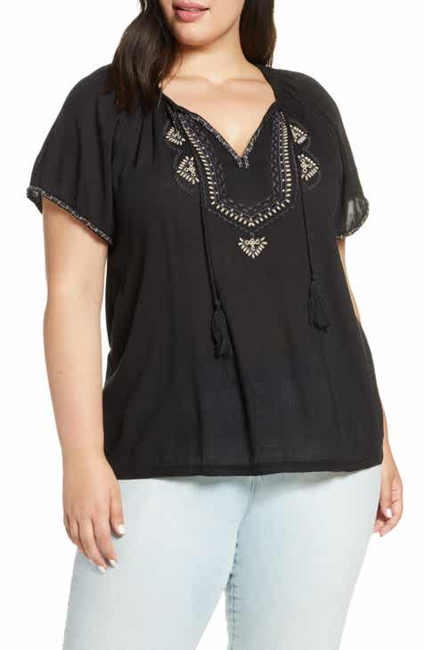 Lucky Brand Embroidered Peasant Shirt (Plus Size)