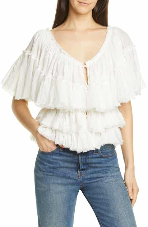 Mes Demoiselles Orphee Tiered Ruffle Cotton Blouse