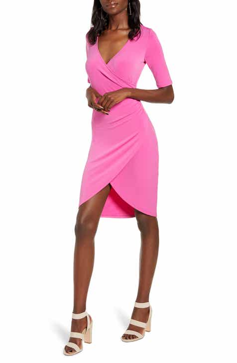 668b1597e8472 Leith Ruched Wrap Body-Con Dress