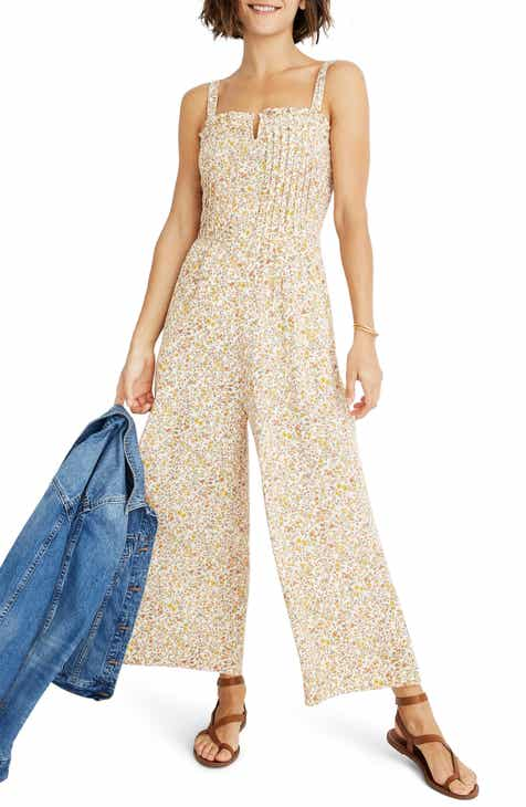 Madewell Blossoming Vines Pintuck Cami Jumpsuit