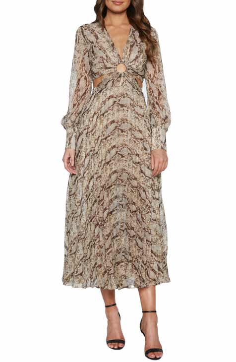 Bardot Snakeskin Print Long Sleeve Ring Detail Cocktail Dress