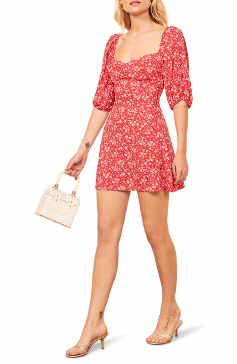 Reformation Kopa Sweetheart Neck Minidress