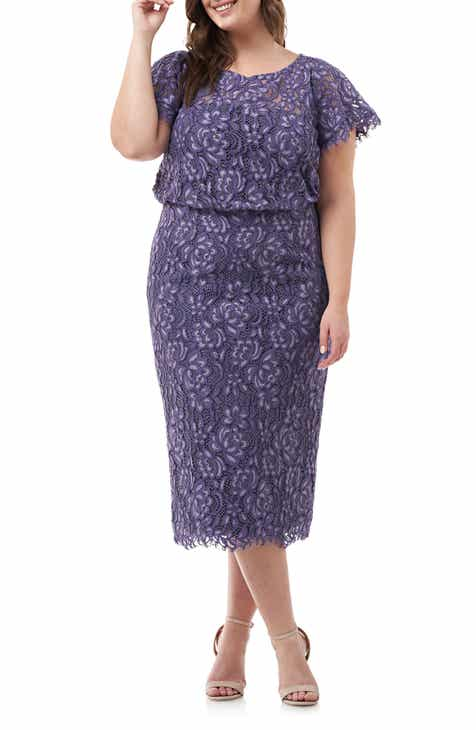 0ed335a38c7 JS Collections Embroidered Lace Blouson Dress (Plus Size)