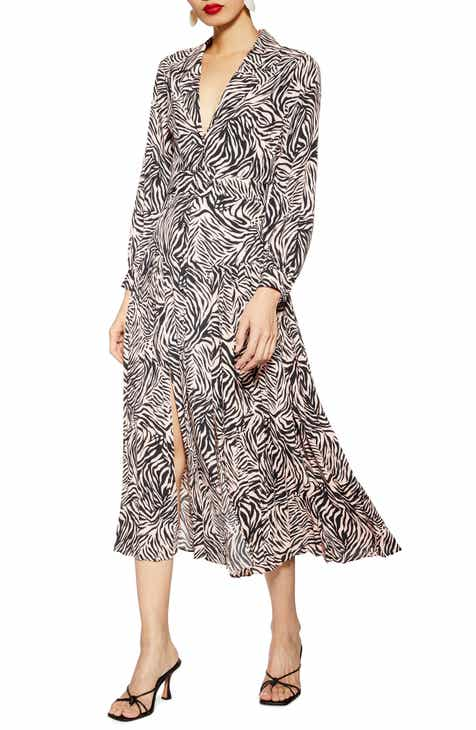 Topshop Zebra Print Belted Midi Dress (Petite)
