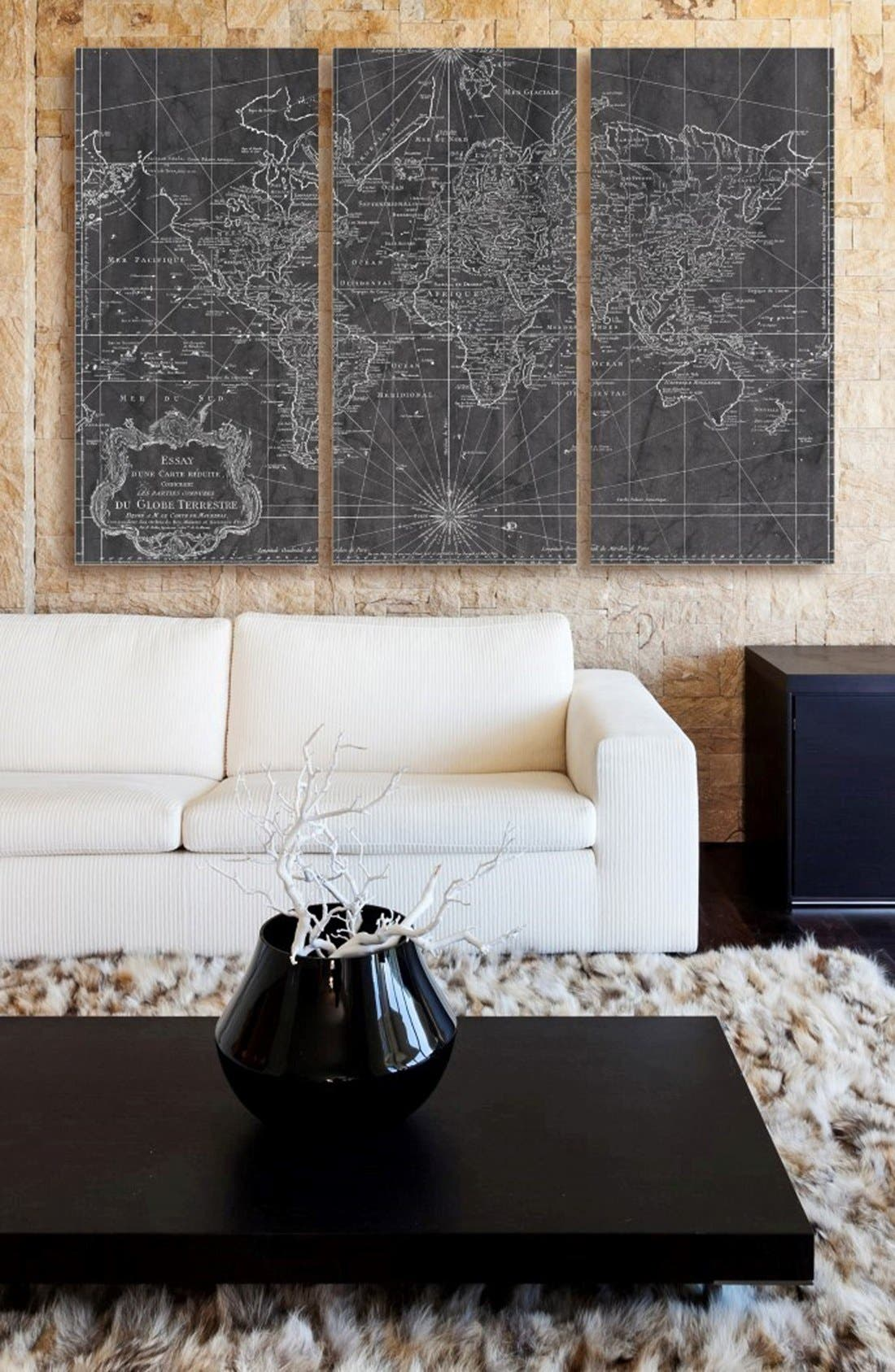 Alternate Image 2  - Oliver Gal 'World Map 1778' Canvas Print Triptych