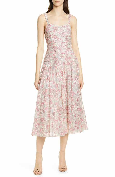 aa0e5f0bbc7 La Vie Rebecca Taylor Falaise Ruched Bodice Sleeveless Cotton Dress