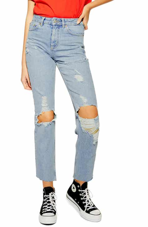 Topshop Ripped High Waist Cropped Jeans (Bleach Blue) by TOPSHOP