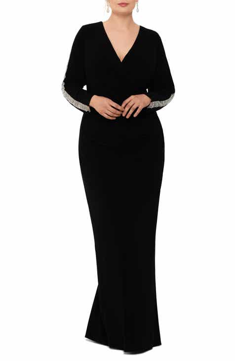 837a3dd8a36bf Xscape Bead Mesh Long Sleeve Gown (Plus Size)