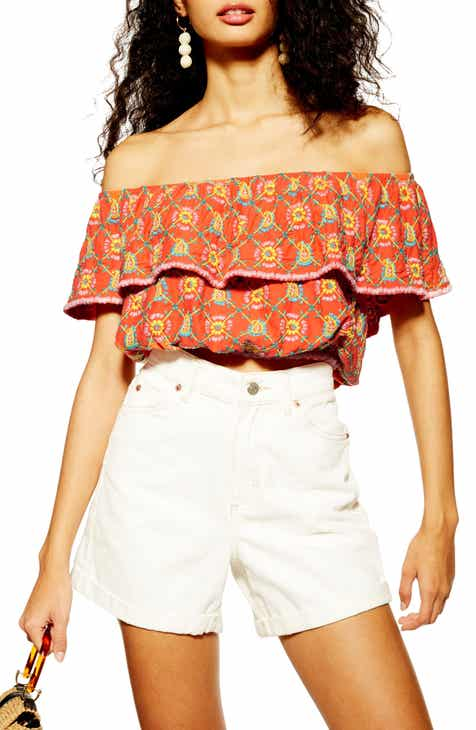 af018cbd998 Topshop Embroidered Off the Shoulder Crop Top