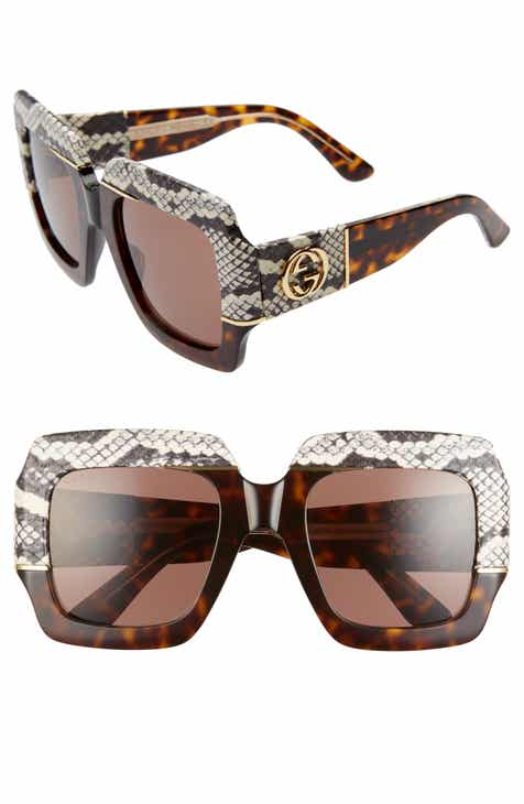 27469c3bc151 Gucci 54mm Genuine Snakeskin Embellished Square Sunglasses