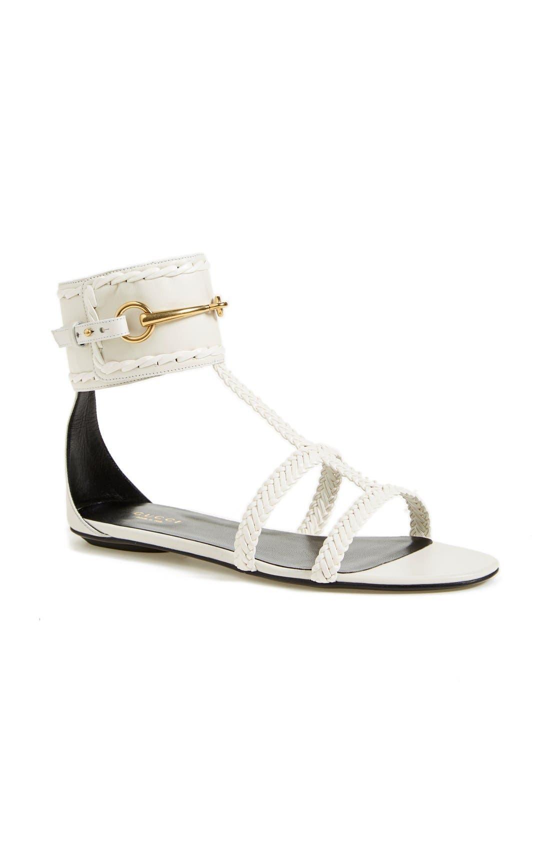 Alternate Image 1 Selected - Gucci 'Ursula' Braided Flat Sandal (Women)
