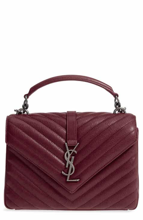 e3195475a28 Saint Laurent Medium College Quilted Leather Shoulder Bag