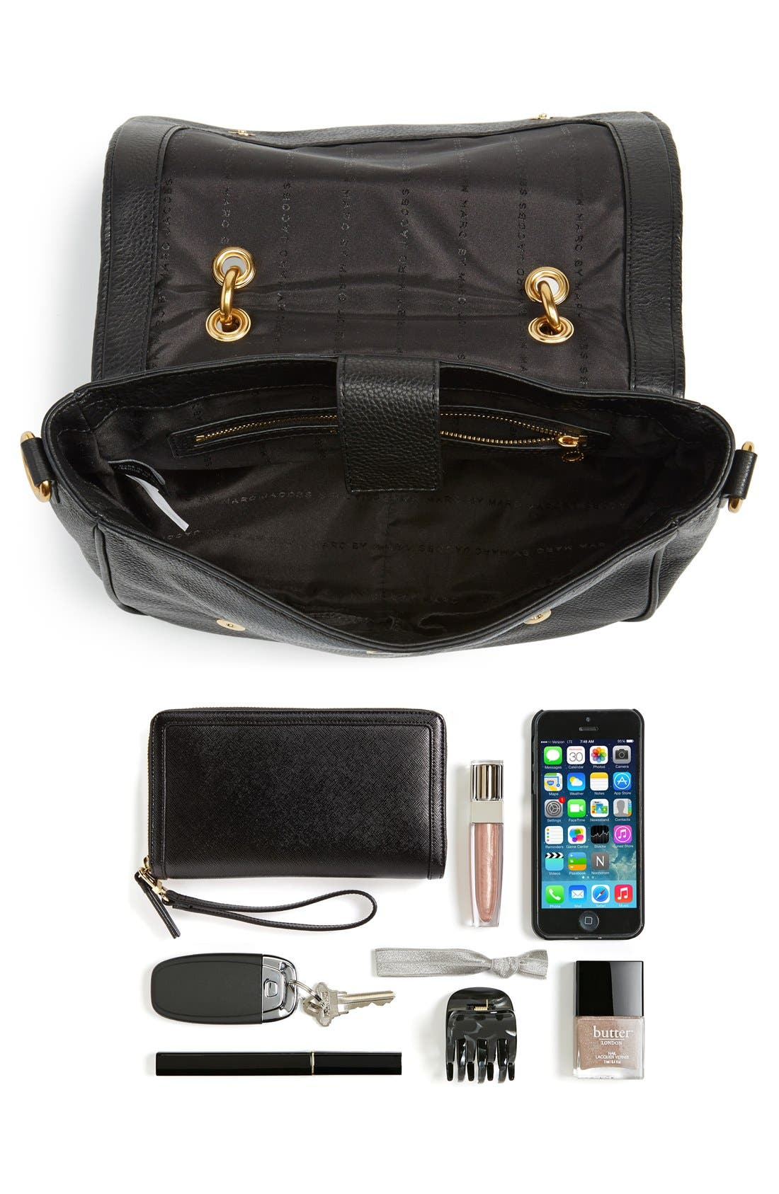 MARC BY MARC JACOBS 'Small Too Hot To Handle' Leather Tote,                             Alternate thumbnail 7, color,                             Black