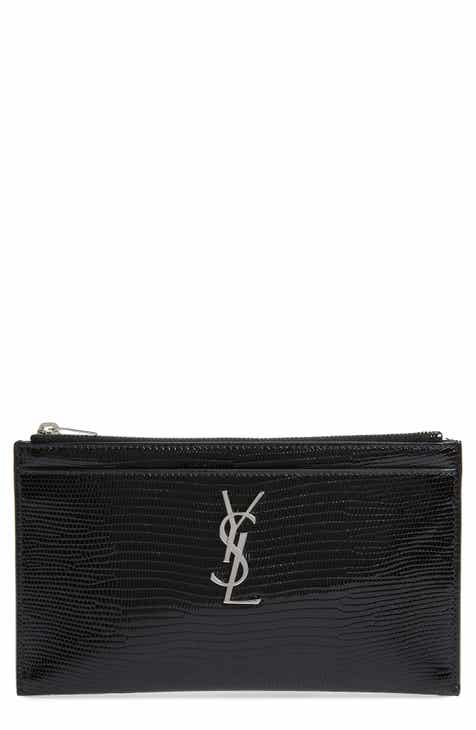 80d34e66c3e81 Saint Laurent Lizard Embossed Leather Zip Pouch
