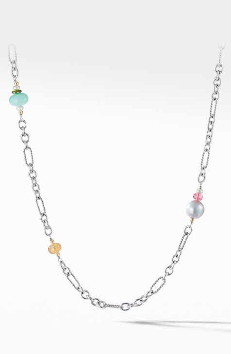 d1d64fba8370 David Yurman Signature Bead and Chain Necklace with Silver Pearl and 18K  Yellow Gold