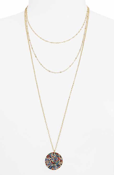 BP. Triple Layer Stone Pavé Coin Necklace
