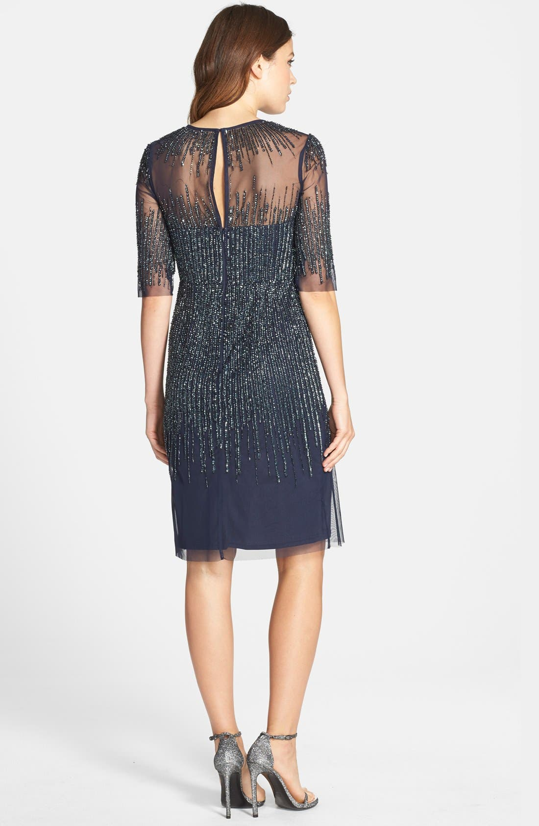 Alternate Image 2  - Adrianna Papell Sequin Mesh Sheath Dress (Regular & Petite)