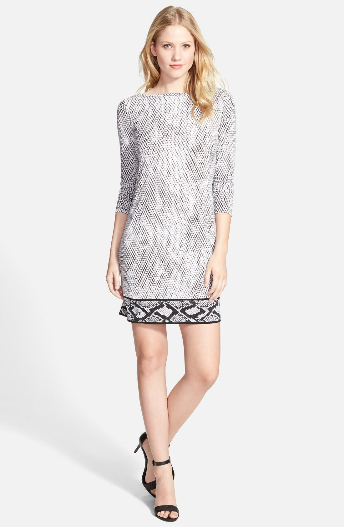 Main Image - MICHAEL Michael Kors Snakeskin Border Print Shift Dress (Regular & Petite)