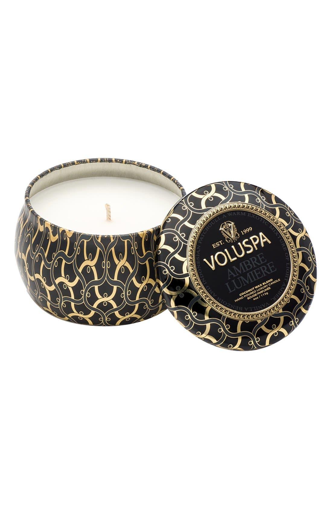 Alternate Image 1 Selected - Voluspa Maison Noir - Ambre Lumiere Petite Decorative Tin Candle