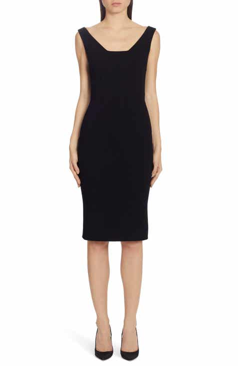 Dolce&Gabbana Square Neck Wool Crepe Sheath Dress