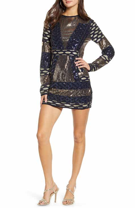Endless Rose Fitted Sequin Long Sleeve Minidress