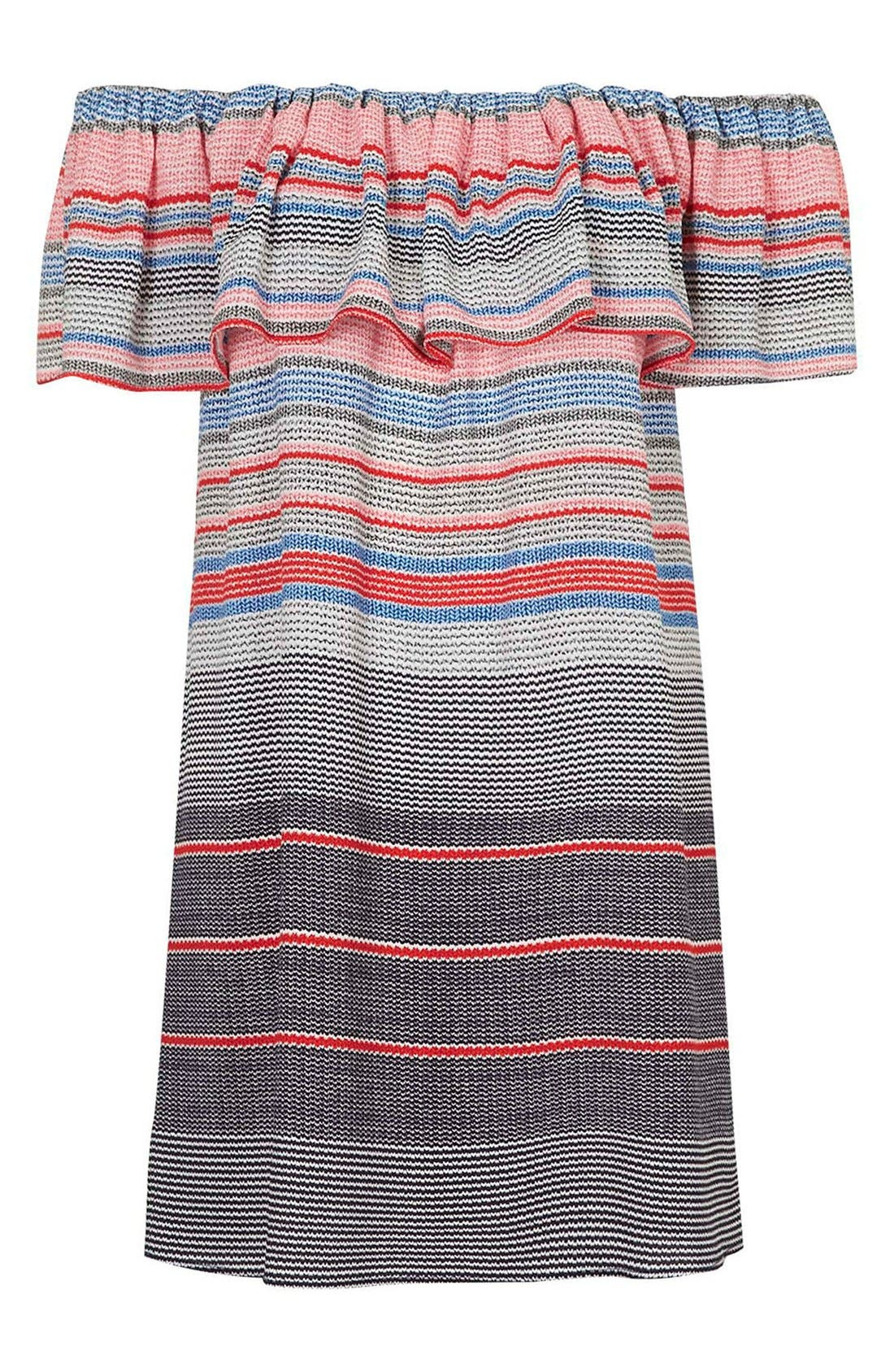 'Sumi' Stripe Off the Shoulder Dress,                             Alternate thumbnail 3, color,                             Red Multi