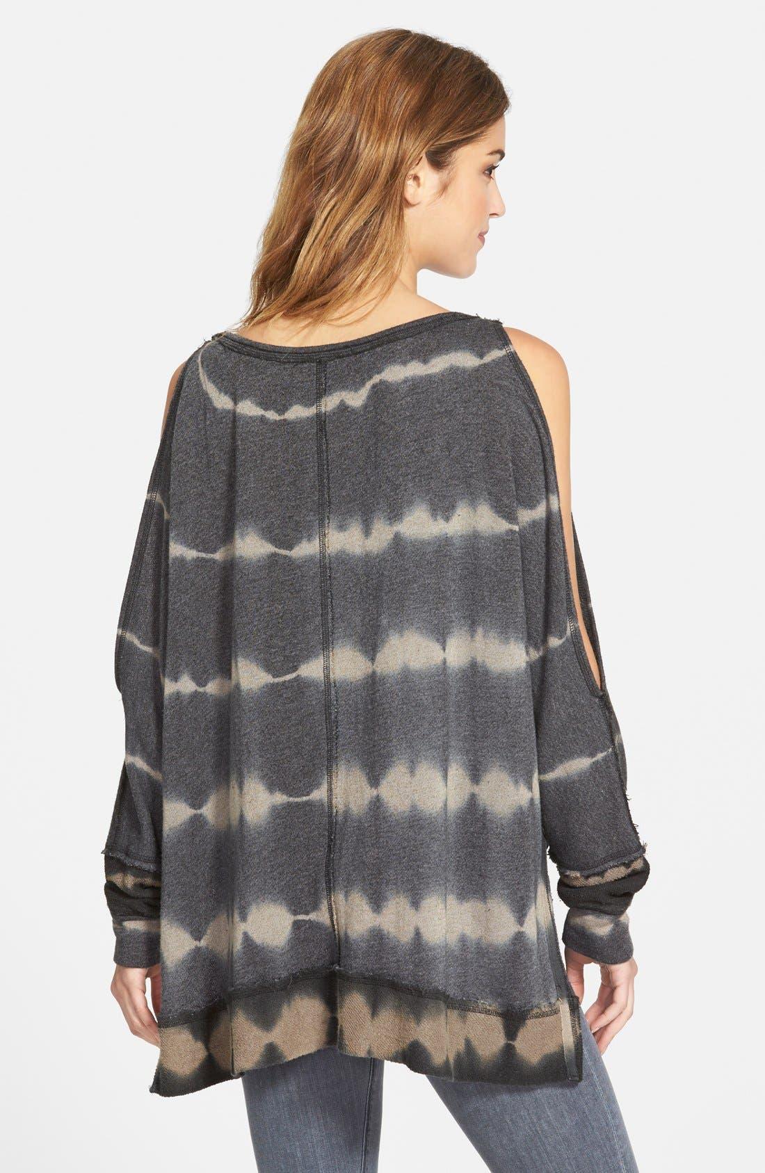 'Dandyline' Cold Shoulder Tie Dye Pullover,                             Alternate thumbnail 2, color,                             Black Combo
