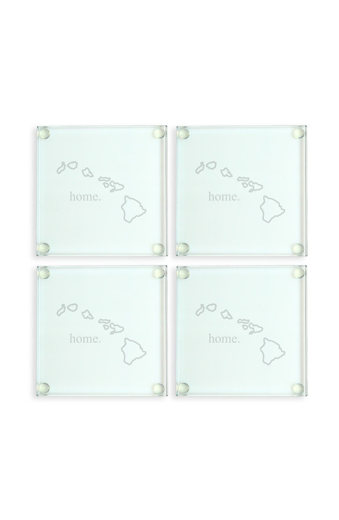 'Home State' Glass Coasters,                             Main thumbnail 1, color,                             Hawaii