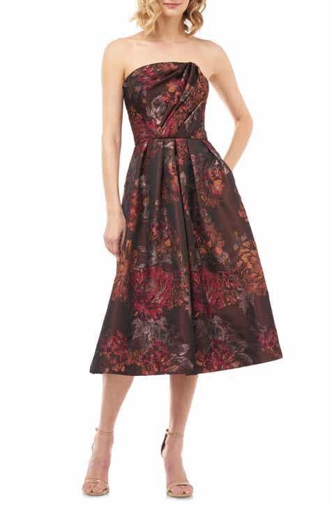 Kay Unger Claudia Kensington Strapless Jacquard Cocktail Dress