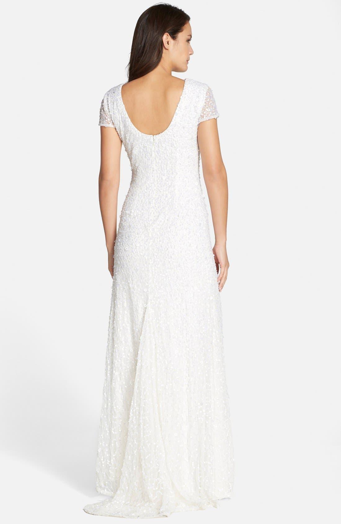 Alternate Image 2  - Adrianna Papell Short Sleeve Sequin Mesh Gown (Regular & Petite)
