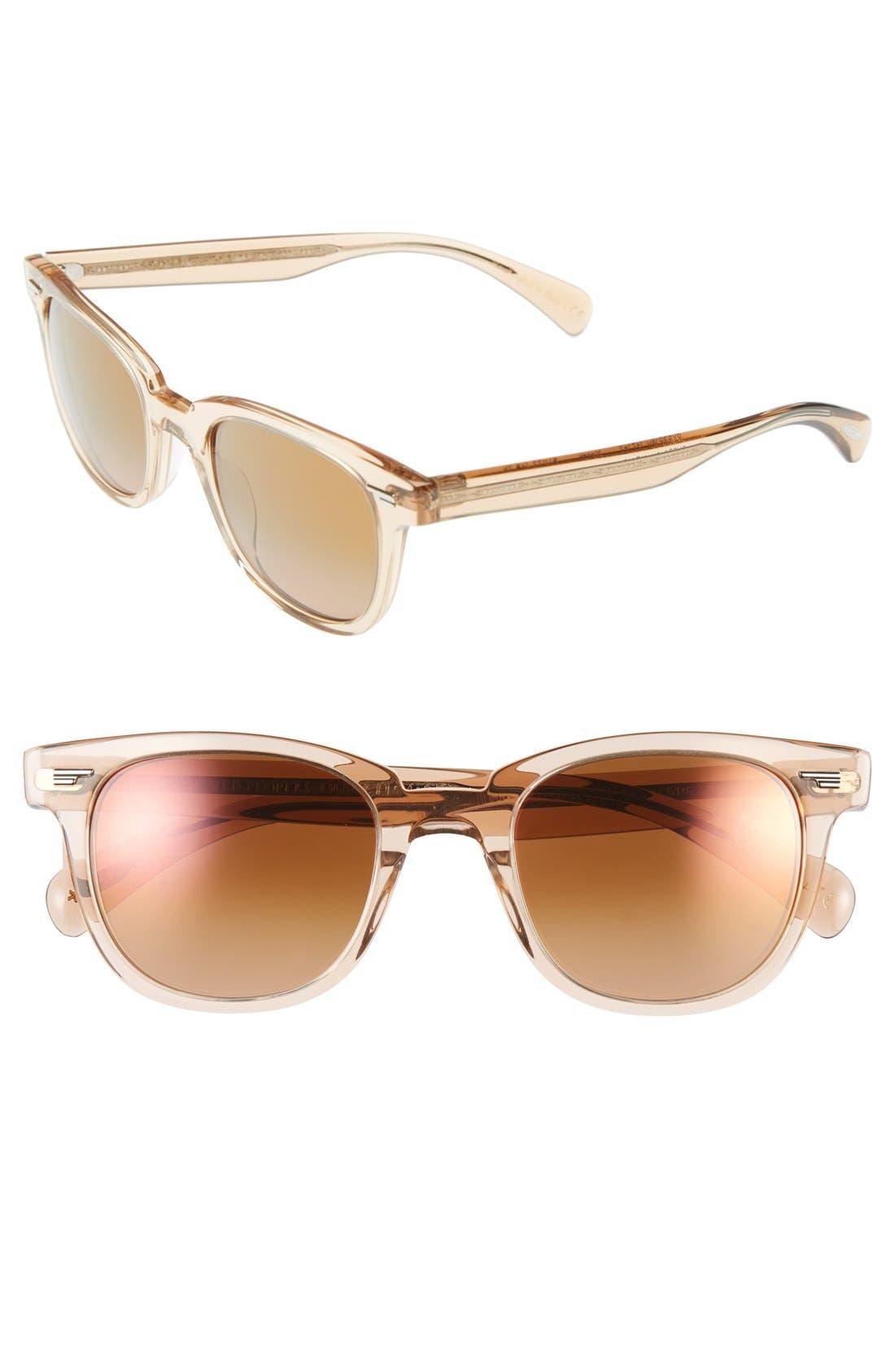 'Masek' 51mm Retro Sunglasses,                             Main thumbnail 1, color,                             Pink/ Rose Quartz Mirror